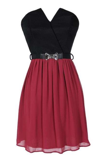 Tulip Garden Strapless Belted Dress in Black/Wine