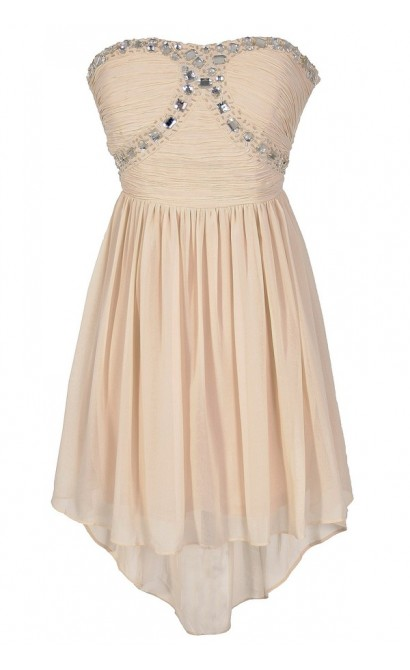Beads of Light Embellished High Low Dress in Ivory
