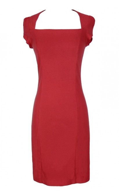 Square Neck Modest Pencil Dress in Red