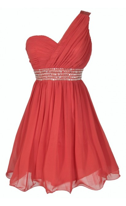 One Shoulder Embellished Chiffon Designer Dress in Red