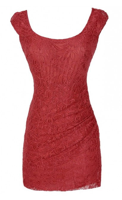 Morning Mist Lace Bodycon Dress in Red