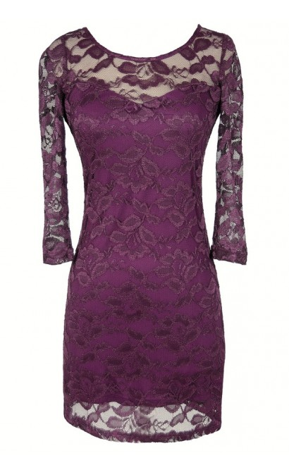 Sweet Silhouette Lace Bodycon Dress in Purple