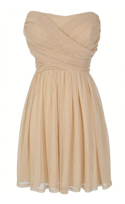 Dress To Impress Strapless Mesh Dress in Cream Shimmer