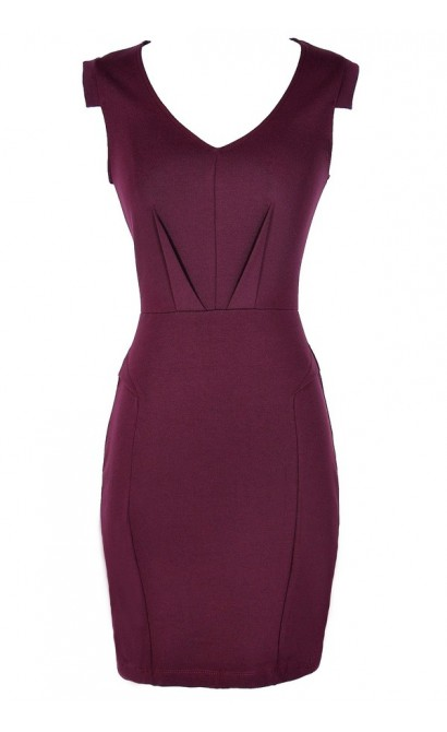 Boardroom Beauty Pencil Dress in Burgundy