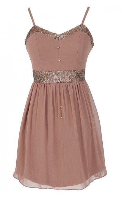 Mocha Shine Chiffon and Sequin Dress