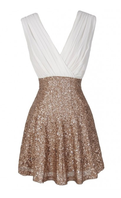 Flash of Light Chiffon and Sequin Dress in Ivory/Gold