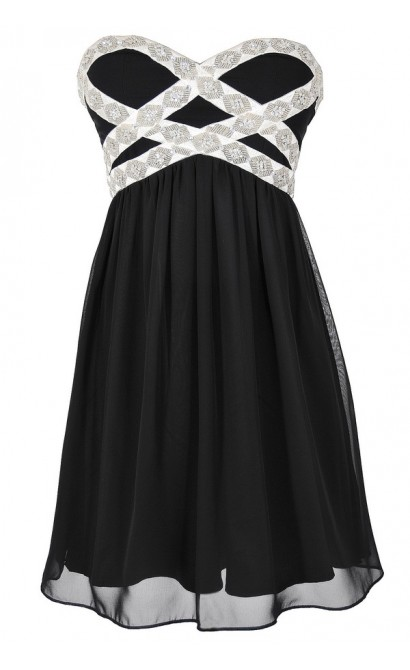 Sparkling Splendor Embellished Chiffon Designer Dress by Minuet in Black