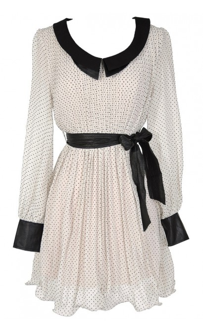 Black and Ivory Retro Dotted Dress