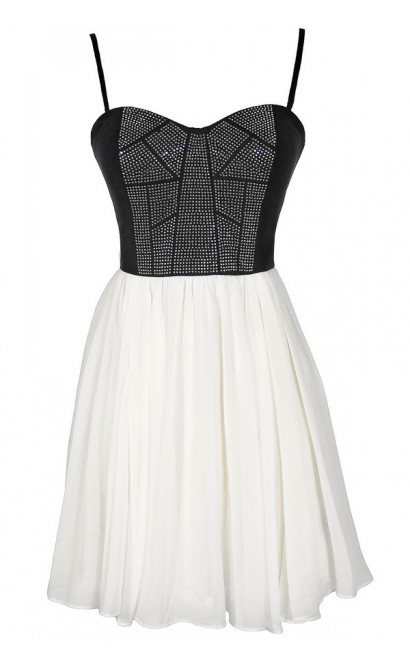 Black and White Shine Studded Chiffon Designer Dress