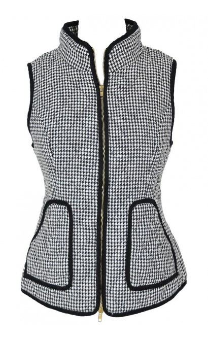 Black and Ivory Houndstooth Quilted Vest