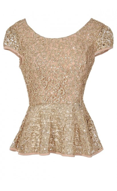 Gold Rush Web Lace Sequin Designer Top