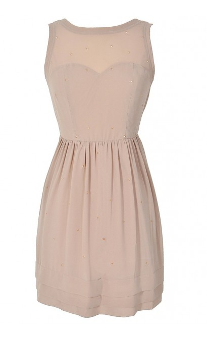 Sunset At Dusk Studded Taupe Chiffon Dress