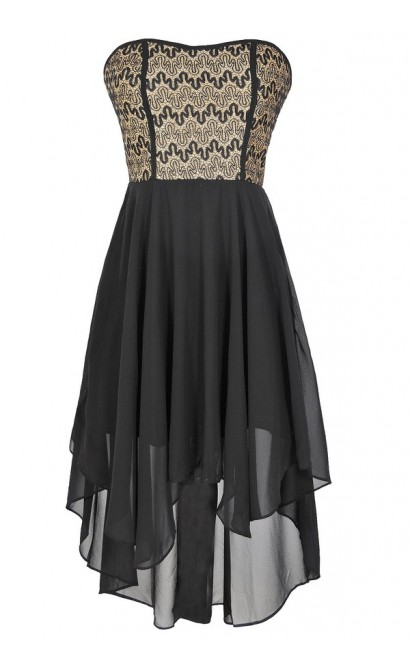 Squiggle Around Black And Gold High Low Dress Lily Boutique