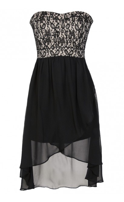 Black And Nude Lace Bustier Chiffon High Low Dress Lily Boutique