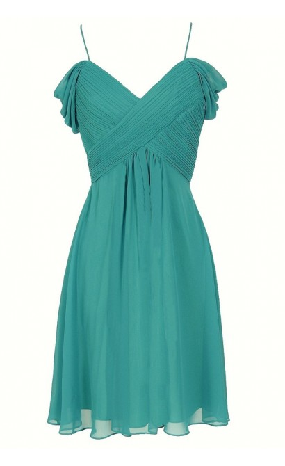 Whisper In The Wind Flutter Sleeve Chiffon Designer Dress in Jade