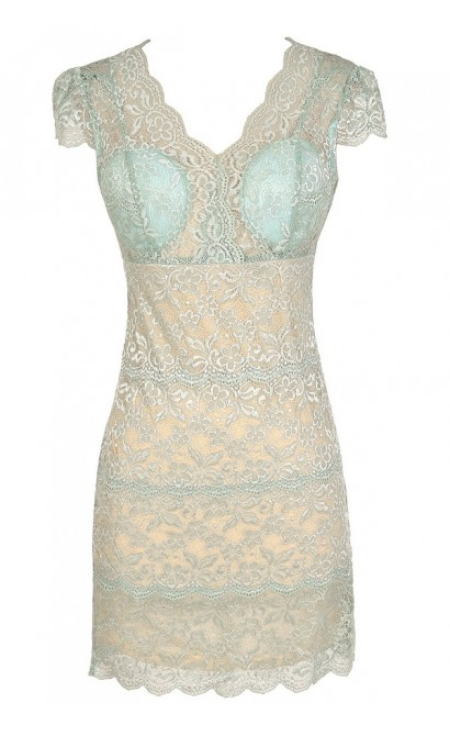Material Girl Delicate Lace Bustier Dress in Mint