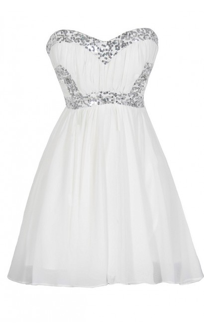White Lightning Sequin and Chiffon Dress