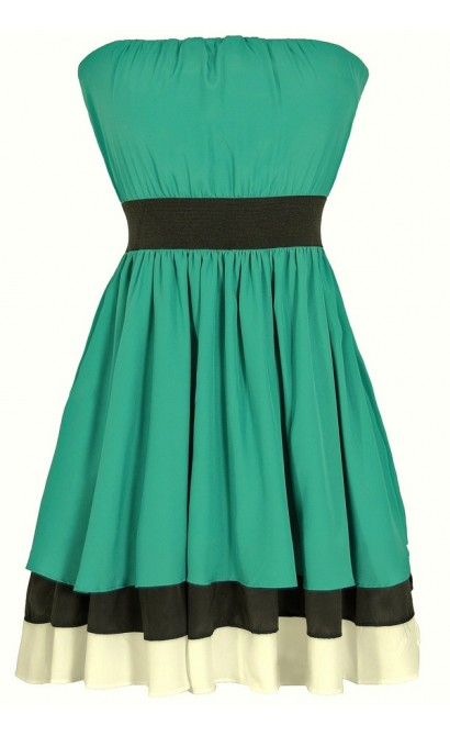 Irish Luck Strapless Green and Black Dress