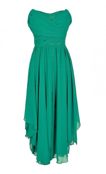 Dana Strapless Chiffon and Lace Midi Dress in Jade