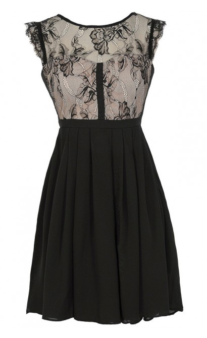 Easily Enchanted Black and Beige Eyelash Lace Dress
