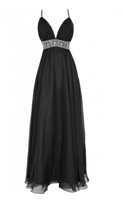 Whole New World Embellished Maxi Dress in Black