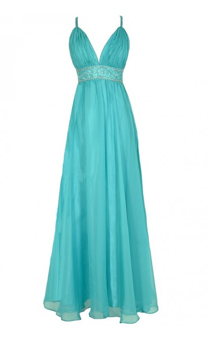 Whole New World Embellished Maxi Dress in Aqua