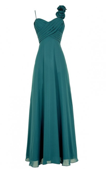 Rosette On My Shoulder Chiffon Maxi Dress in Teal