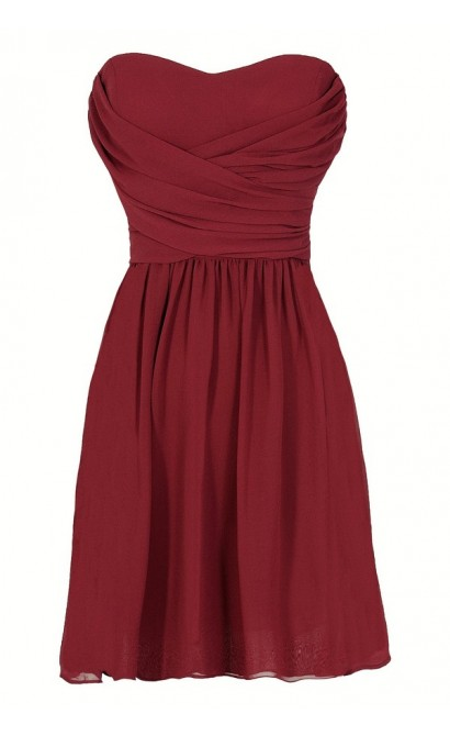 Dress To Impress Strapless Chiffon Dress in Wine Red