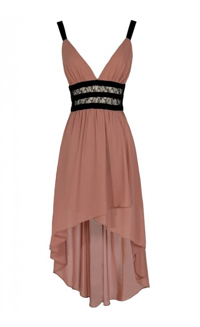Maricela Shimmer Contrast High Low Dress in Taupe