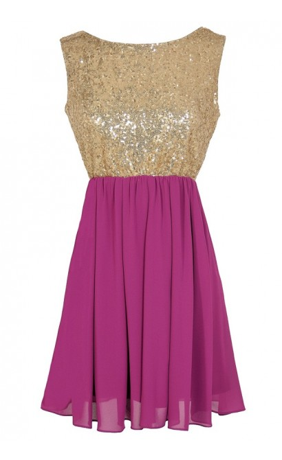 Go For Gold Sequin and Chiffon Dress in Berry