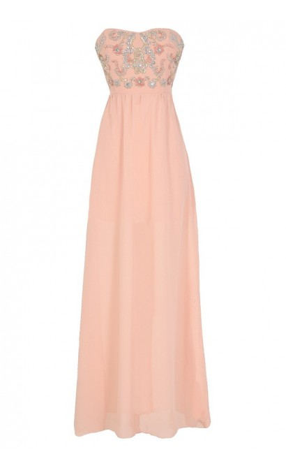 Twinkling Rose Embellished Pink Maxi Dress
