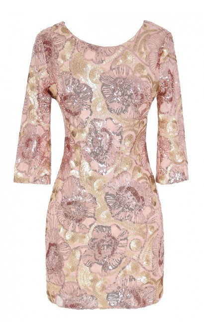 Rose Gold Floral Sequin Dress