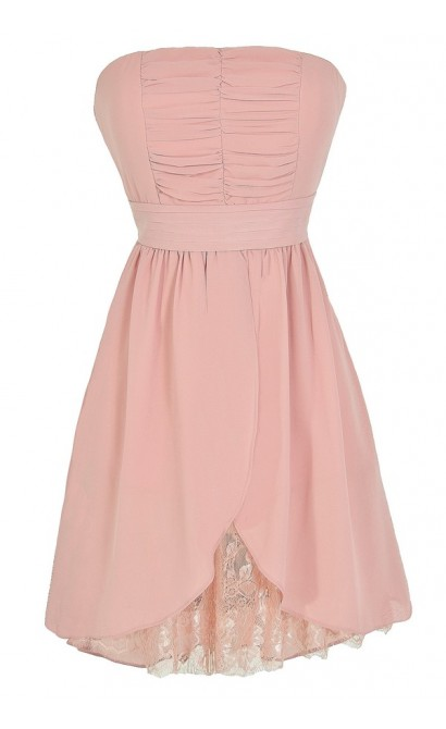 Lined In Lace Strapless Chiffon Dress in Pink