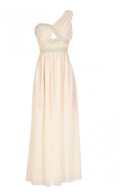 Aphrodite Sequin and Chiffon Maxi Dress in Ivory
