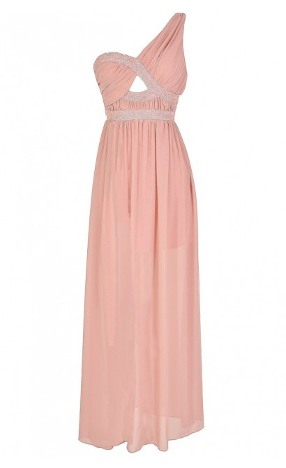 Aphrodite Sequin and Chiffon Maxi Dress in Pink
