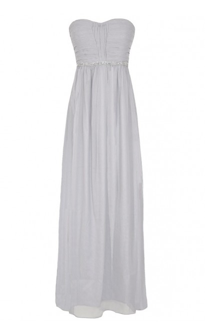Glimmer and Shimmer Embellished Maxi Dress in Grey