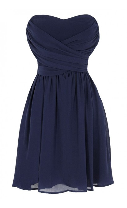 Dress To Impress Strapless Chiffon Dress in Navy