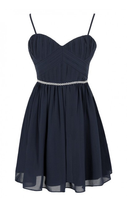 Charmed Life Embellished Designer Dress in Navy