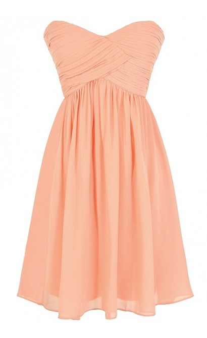 Night To Remember Strapless Chiffon Designer Dress in Peach