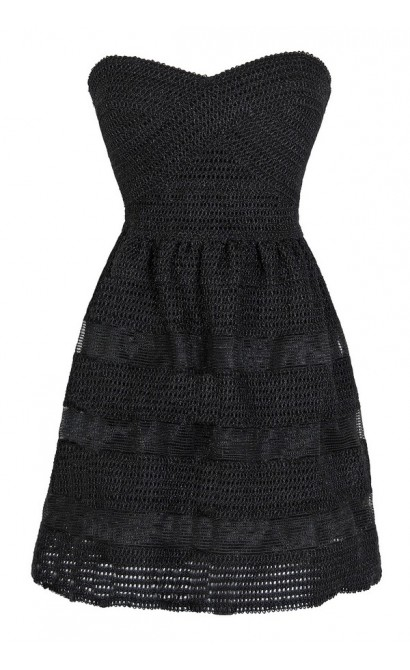 Dolled Up Textured Strapless Dress in Black