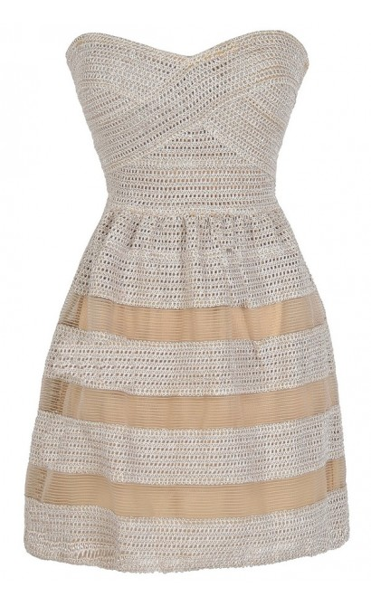 Dolled Up Textured Strapless Dress in Beige