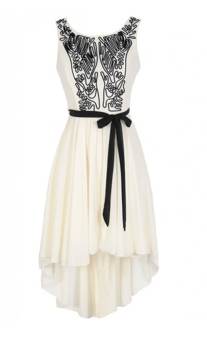 Scribble Out High Low Dress in Ivory