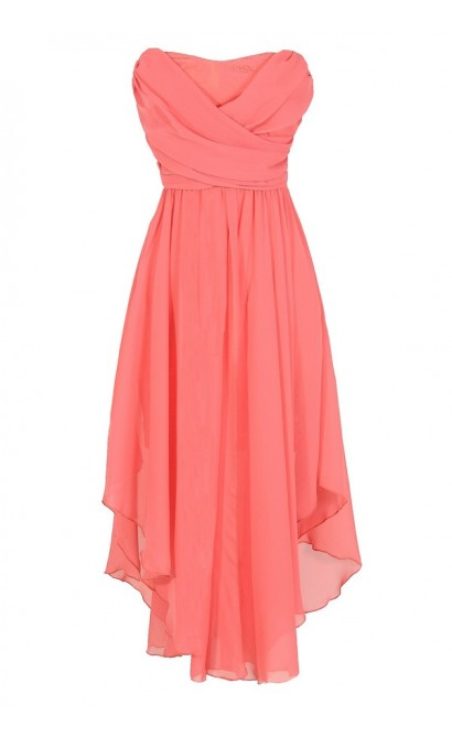 Dana Strapless Chiffon and Lace Midi Dress in Coral