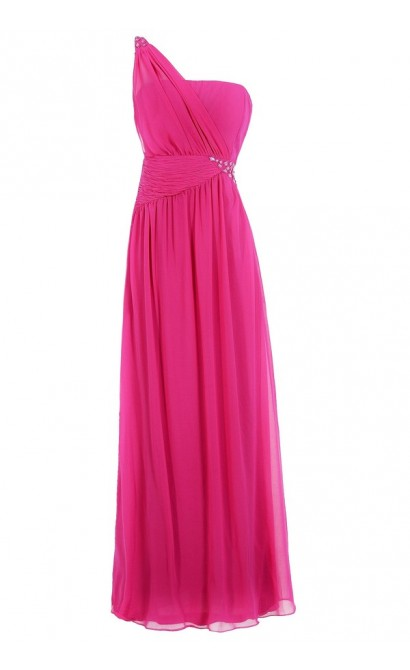 One Shoulder Embellished Maxi Dress in Hot Pink