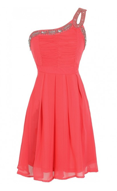 Night Moves Embellished One Shoulder Dress in Coral