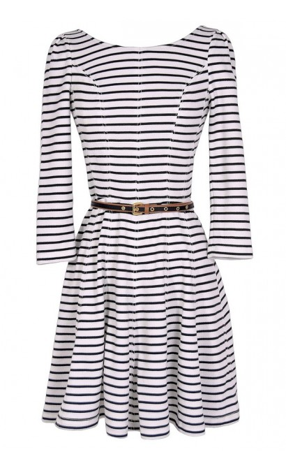 Ships Ahoy Belted Stripe Designer Dress