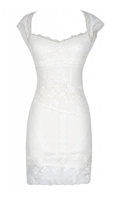 Glamorous Open Back Lace Bodycon Dress in White