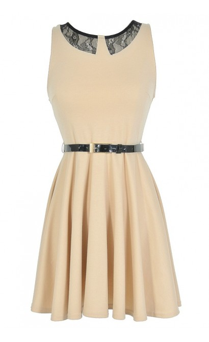 Black and Beige Faux Collar Belted A-Line Dress