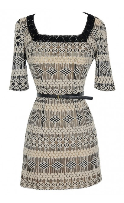 Delicate Designs Square Neck Belted Lace Dress in Black/Beige