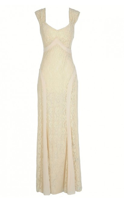 Longing For Lace Beige Maxi Dress
